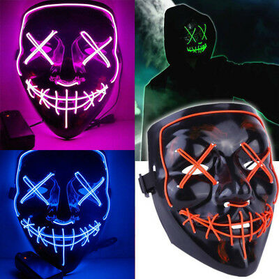 3 Modes Scary Mask Cosplay LED Costume Mask EL Wire Light Up The Purge Movie GT