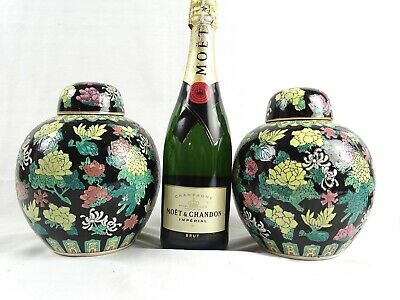 Large Pair of Painted Vintage Chinese Famille Noir Ginger Pots Jars China