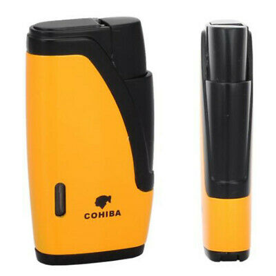 COHIBA Yellow&Black 2 Jet Flame Windproof Torch Lighter Cigar Cigarette W/Punch