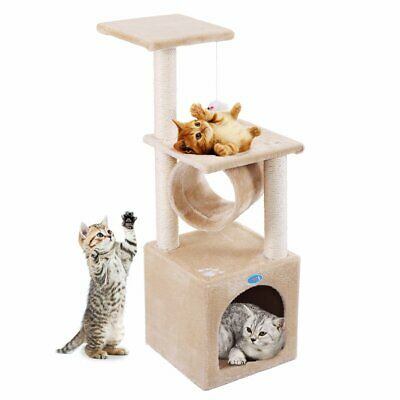 "Deluxe 36"" Cat Tree Condo Furniture Play Toy Kitten Pet House Beige with Paw"