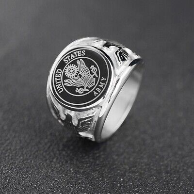 USA Military Ring United States Marine Corps US Army Stainless Steel Men Signet