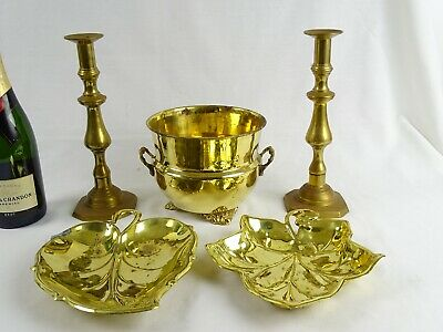 Collection of Vintage Brass Items inc Candle Sticks Leaf Bowls Jardiniere