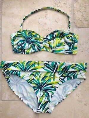 Marks & Spencer Leaf Print Bandeau Top 16  Roll Top Hipster Brief 18 Bikini Bnwt