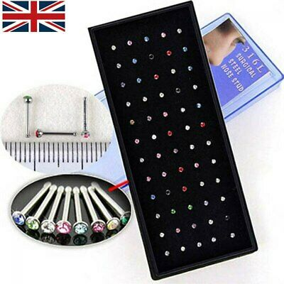 20/60x Surgical steel Nose Studs Mix Colourful Crystal Body Jewellery Set Gift