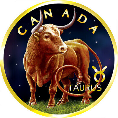 Maple Leaf Zodiac - Taurus 1 oz BU Silver Coin 5$ Canada 2019