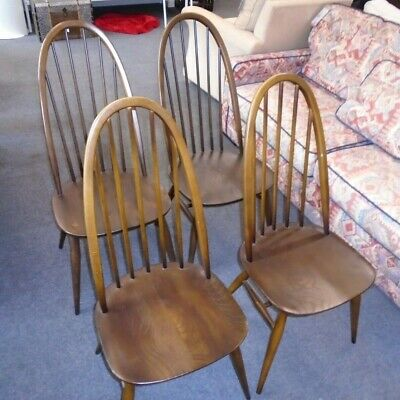 brand new 31050 5933c SET OF 4X Vintage ERCOL Windsor Solid Elm & Beech Quaker Dining Chairs - T20