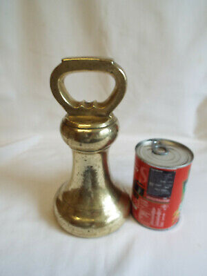 Large antique Victorian 14lb brass bell weight with VR excise stamps.