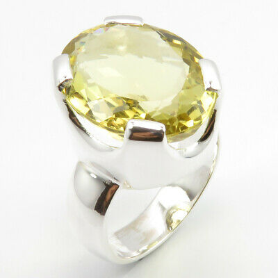 4-Prong Setting Ring Jewelry ! 925 Solid Sterling Silver LEMON QUARTZ Size 7.75