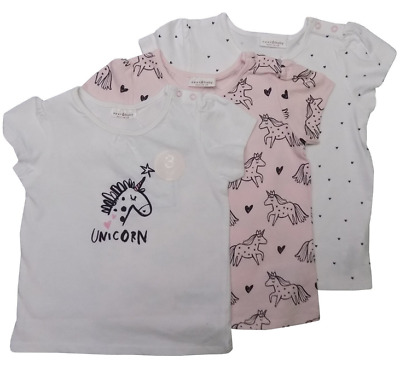 Baby Girls Pack Of 3 Unicorn/Heart, Pink/White Top Ex Next Sizes Nb To 12-18M