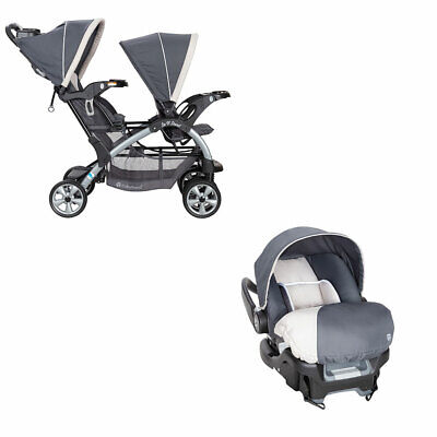Baby Trend 5 Point Double Stroller & 35 LB Infant Car Seat w/ Car Base, Magnolia