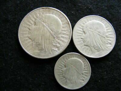 Poland 10, 5 & 2 Zlotych Silver 1933 (3 Coins) as pics FreePost P234