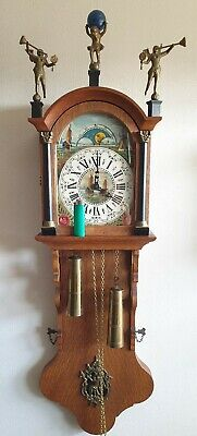 Warmink Friese Clock Tailed Vintage Chain Driven Moonphase Pendule Bim Bam Chime