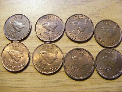 Collection of 8 x Date Run 1948-55 Farthing Coins- nice condition with luster