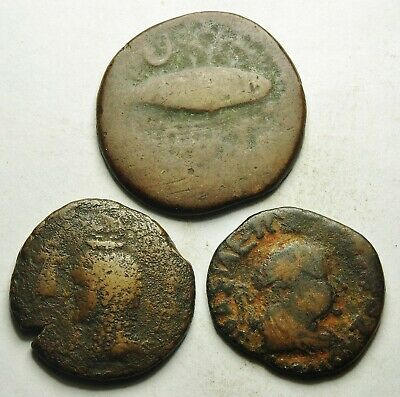 Interesting Selection Of 3 Greek Bronze Coins (250L)