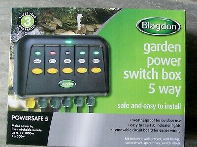 New Blagdon Ps5 Powersafe Waterproof Switchbox Garden & Pond 5 Outlets