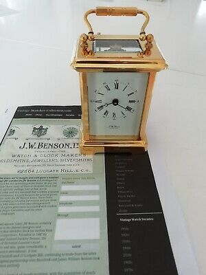 SUPERB J W BENSON LONDON - 24ct GOLD PLATED CARRIAGE CLOCK
