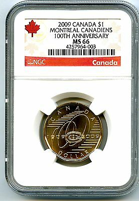 2009 Canada $1 Montreal Canadiens Ngc Ms66 Loonie 100Th Anniv Dollar