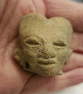 Antique Pre-Columbian Carved Stone Head Face Mask #2