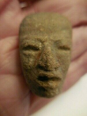 Antique Pre-Columbian Carved Stone Head Face Mask #4