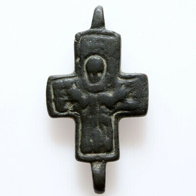 Stunning Byzantine Bronze Cross Ornament Circa 700 Ad