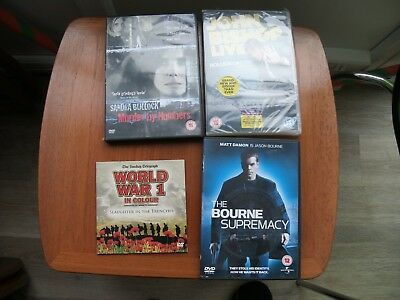 JOB LOT OF 4 DVDs - BOURNE SUPREMACY, MURDER BY NUMBERS, JOHN BISHOP LIVE & WW1