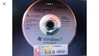 Windows 7 Professional 64Bit DVD Vollversion SP1 + Win 7 Pro Lizenz Key COA OEM