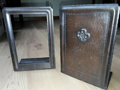 "vintage Roycroft hand hammered Mission 8.5"" antique copper Bookends Arts & Craft"