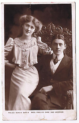Vintage Edwardian Miss Phyllis Dare and Brother Philco Postcard '10' 1906 Stamp
