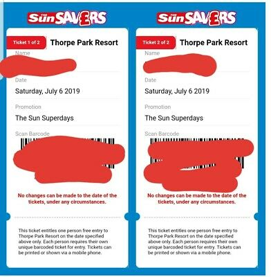 2  x THORPE PARK tickets for saturday 6 july