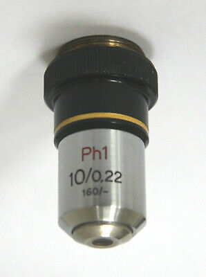 Zeiss Microscope Phase Contrast Objective Ph1 10X / 0.22 160/- RMS - Excellent
