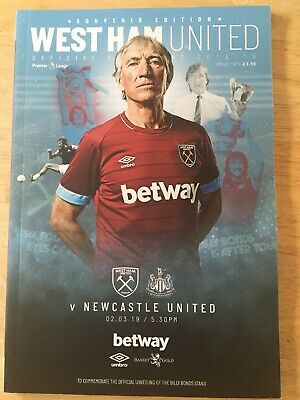 West Ham v Newcastle football programme, 2 March 2019