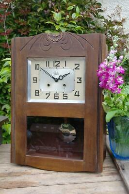 Vintage ODO French Art Deco Wall Clock Carved Oak Case Striking Clock 1930s Chic