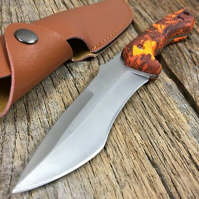 HUNTER OUTDOORS Orange Camo Handle Full-Tang Hunting Knife W/ Leather Sheath T