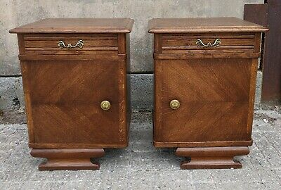 Beautiful Pair Vintage Dutch Oak Bedside Cabinets with Cupboard and Drawer