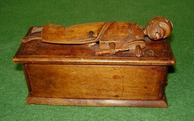ANTIQUE JAPANESE KOBE WOODEN AUTOMATED TOY FIGURE ON BED LONG NECK RARE cir 1890
