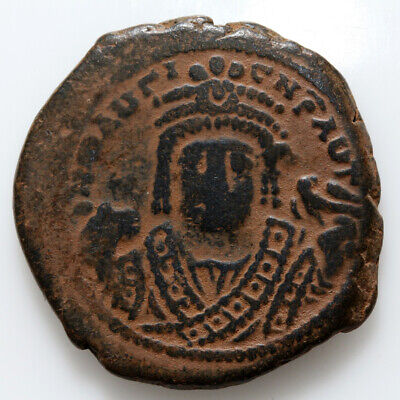 Byzantine Coin Ae Follis Maurice Tiberius Antioch 582-602 Ad Year 14