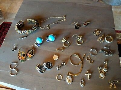 Lot of Vintage pins, earrings, necklaces, enamel, huge lot grab bag...