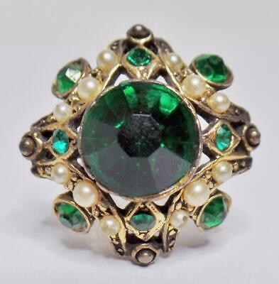78fed1ce5 Antique/Vintage Victorian Revival Emerald Green Glass Faux Seed Pearl Brooch  Pin