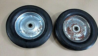 "Pair Old Solid Rubber Tire Heavy Duty 8"" Steel Cart Wheels 5/8"" Axle FREE S/H"