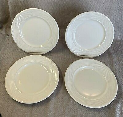 "Wedgwood Edme Off White/Cream 10-3/8"" Rib Rim Dinner Plates England - Set of 4"