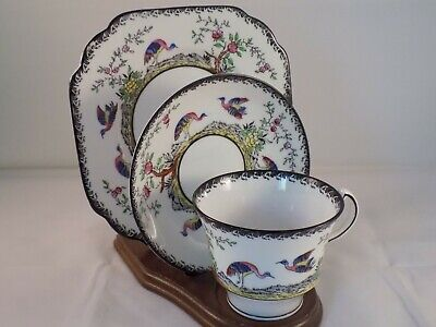 Melba China Rose Hand Painted & Enameled- Tea Cup, Saucer, & Dessert Plate