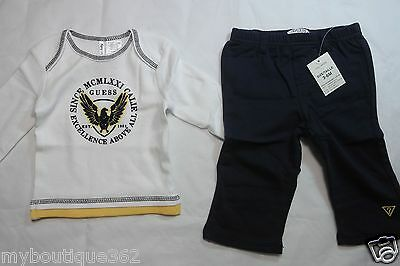 Guess Baby Boys 2 Pc Set Long Sleeve Shirt With Pull On Pants Sz 3-6 Month New