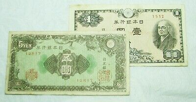 JAPAN 1946 ... 1 and 5 YEN BANKNOTES