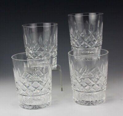 Set 4 WATERFORD Deep Cut Irish Crystal LISMORE Double Old Fashioned Glasses JLB