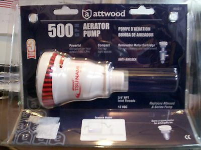 Marino Barca Attwood Tsunami Serie Aeratore Pompa Live-Well Bait-Well, 500 GPH