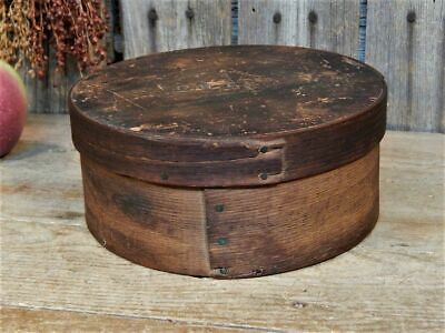 Rare Signed Early Antique Primitive Round Wood Pantry Box Dry Measure AAFA