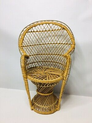 """Doll Straw Chair Furniture Wide Rattan Peacock Chairs 16"""" Tall Width 10"""" Sturdy"""