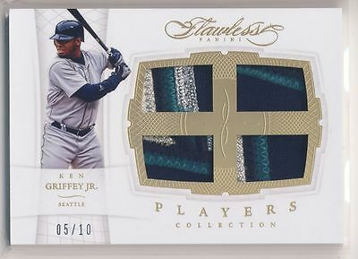 KEN GRIFFEY JR 2016 Panini Flawless QUAD 4-COLOR PATCH /10 LOGO? MARINERS HOF