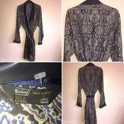 Vintage St Michael Sz L Blue Paisley Dressing Gown Smoking Jacket Robe Mens