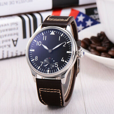 44mm PARNIS black Sterile dial  Luminous hands  hand winding 6497 men''s watch